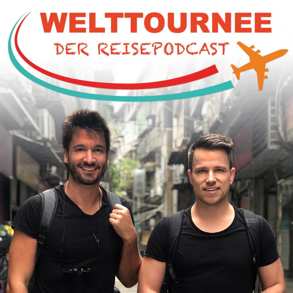 "Christoph Streicher and Adrian Klie with their travel podcast ""Welttournee"""